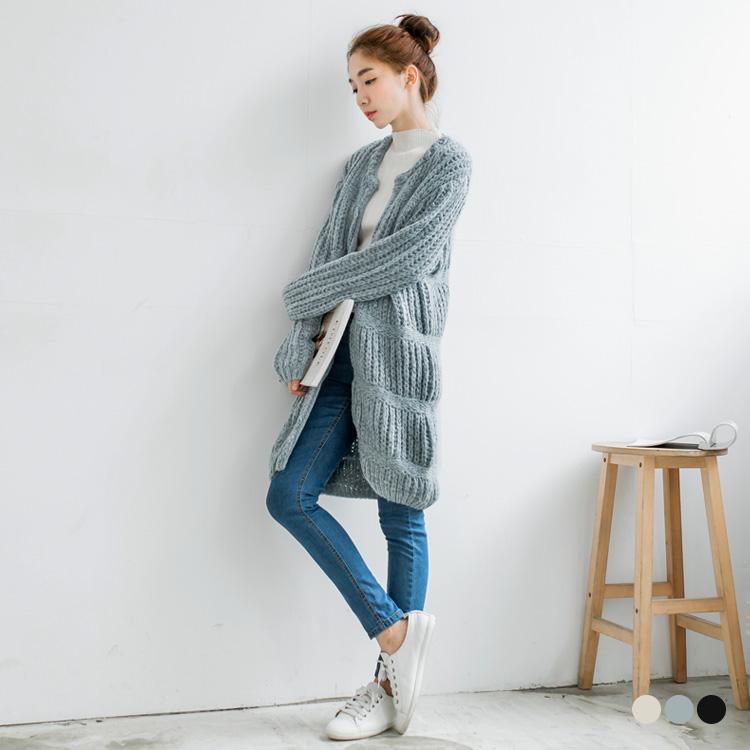 粗針織暖感層次造型開襟落肩長版外套.3色