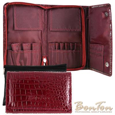 BonTon 9支時尚鱷紋三摺式刷具包 森巴紅