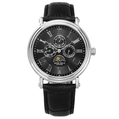 ARIES GOLD 雅力士 日月相錶 羅馬時標 藍寶石水晶玻璃 真皮手錶 黑色 43mm G101S-BK