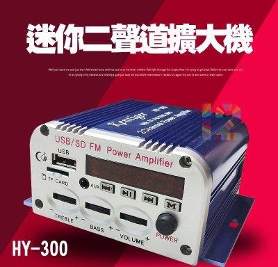 ►3C當鋪12號◄ HY-300迷你二聲道擴大機~家用/機車/汽車 皆可!支援FM、SD、USB、MP3 現貨