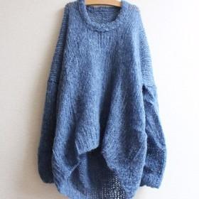 手編みモヘアラウンドネックセーター ブルー