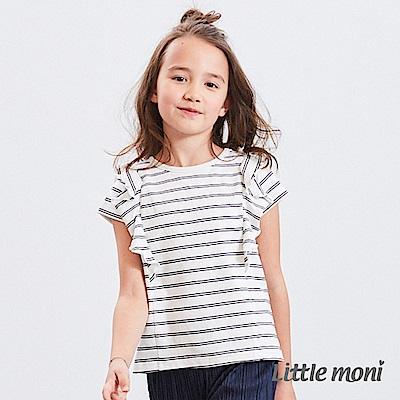 Little moni 條紋荷葉袖上衣 (2色可選)