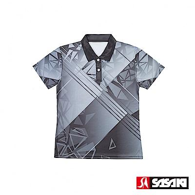 SASAKI 長效性吸濕排汗功能網球短衫-女-太空灰/炭墨灰