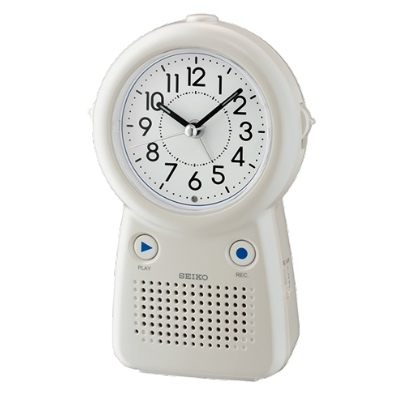 SEIKO 日本精工 滑動式秒針 可錄音鬧鈴(QHE158W)-白/16.8X10.8cm