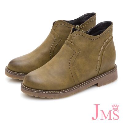 JMS-學院風素面車邊內增高短靴-卡其色