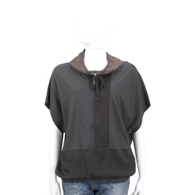 FABIANA FILIPPI 深灰色抽繩拼接設計短袖上衣