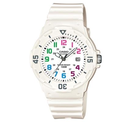 CASIO 潛水風運動休閒腕錶(:LRW-200H-7B)-白x彩色時標/34mm