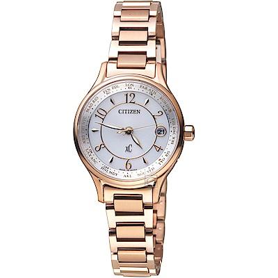 CITIZEN 星辰 xC 電波對時光動能鈦金屬腕錶 EC1162-59A-玫瑰金色
