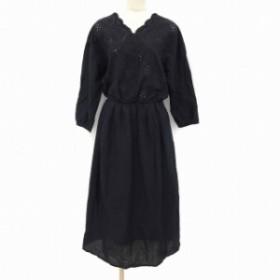 【中古】ショコラフィネローブ chocol raffine robe ワンピース ロング Vネック 長袖 F 黒 ブラック MCK レディース