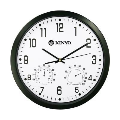 KINYO溫濕度計靜音掛鐘CL130