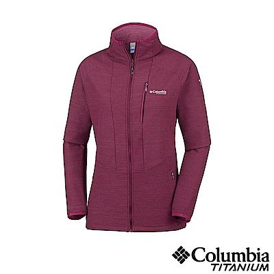 Columbia 哥倫比亞 女款-鈦 防潑彈性外套-紫紅 UAR26480