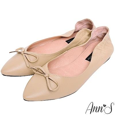 Ann'S  氣質V剪裁芭蕾蝴蝶結真皮尖頭平底鞋 杏