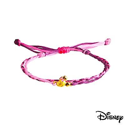 Disney迪士尼系列金飾 黃金 彩色蠟繩手鍊 俏麗美妮款