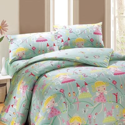 鴻宇 美國棉100%精梳棉 防蟎抗菌 公主城堡綠 單人床包枕套兩件組