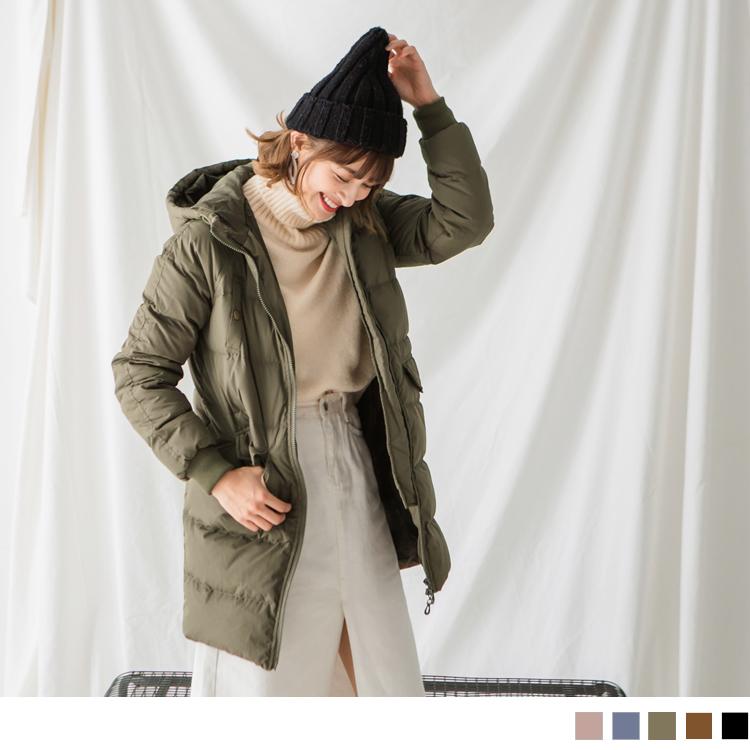 側袖拉鍊造型釦飾口袋連帽長版羽絨外套