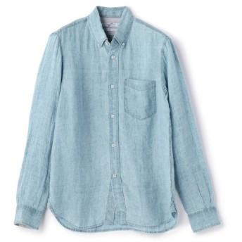 【50%OFF】 メンズビギ インディゴボタンダウンリネンシャツ メンズ サックスブルー M 【Men's Bigi】 【セール開催中】