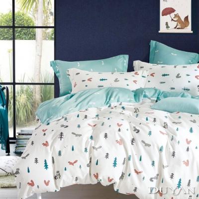 DUYAN 竹漾 100% 精梳棉 雙人加大床包被套四件組 松鼠之森