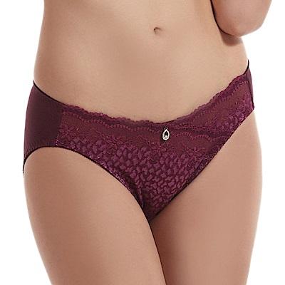 LADY 豹紋精靈系列 蕾絲中腰三角內褲 (叢林紫)