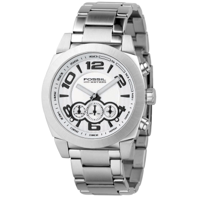 FOSSIL悍將先驅計時腕錶-銀/42mm