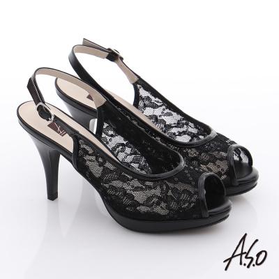 A.S.O 法式浪漫 真皮蕾絲亮片魚口高跟涼鞋 黑