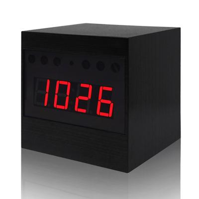 【CHICHIAU】Full HD 1080P 黑色木紋電子鐘造型微型針孔攝影機