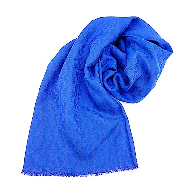 TORY BURCH MOSAIC LOGO 流蘇圍巾-藍色