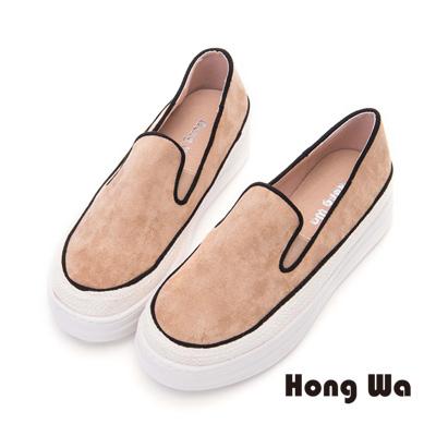 Hong Wa 經典素面麂皮厚底鞋- 棕