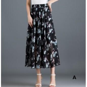 ロングスカート マキシスカート フレアスカート 大きいサイズ 春 夏 ロング 柄 黒 スカート Aラインスカート ボトムス レディース 9色 チ