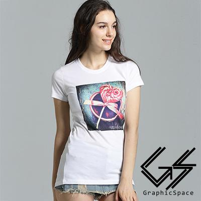 愛心棒棒糖復古圖案磨毛水洗長版T恤 (共三色)-GraphicSpace