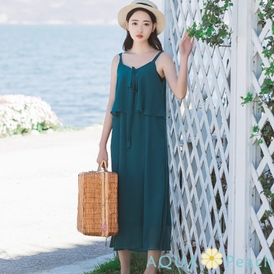 肩帶層次雪紡長裙洋裝(綠色)-AQUA Peach