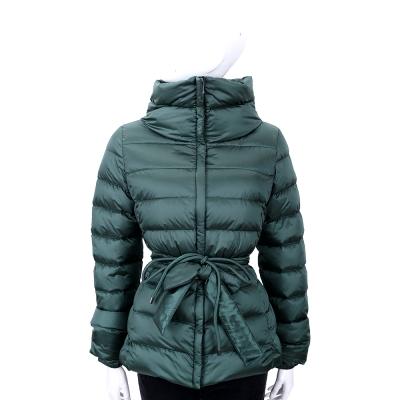 MAX MARA-WEEKEND 深綠色立領拉鍊羽絨外套(附腰帶/綁繩)