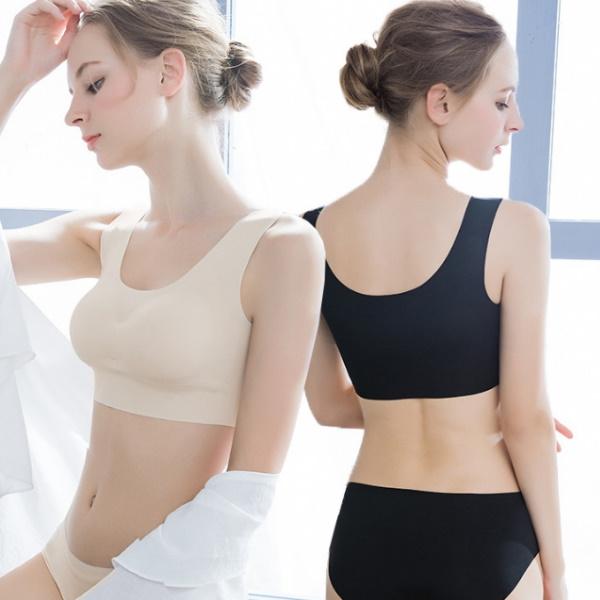 (限時299)S-XL無痕無鋼圈冰絲運動背心內衣/一片式瑜珈睡眠內衣-凱西娃娃