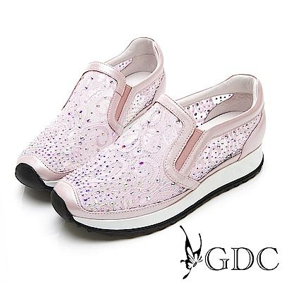 GDC-極Q!軟底簍空網紗透氣水鑽舒適休閒鞋-粉色