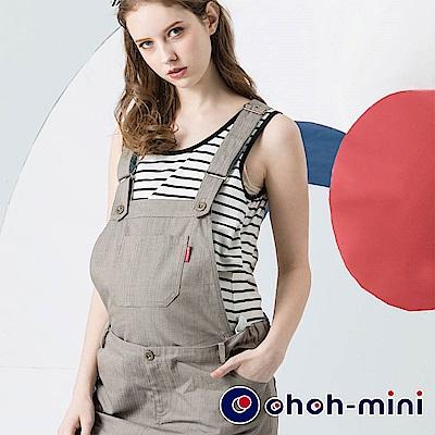 【ohoh-mini 孕婦裝】Y字可拆式俏皮牛仔吊帶短裙