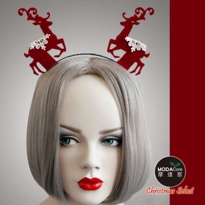 摩達客 蕾絲聖誕麋鹿造型髮箍