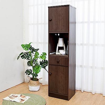Birdie南亞塑鋼 1.5尺二門一抽一拉盤塑鋼電器櫃 胡桃色 44x41x180cm