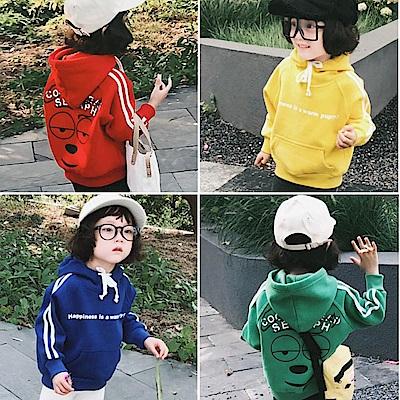 小衣衫童裝   男女童個性連帽英文字大口袋刷毛上衣1071026