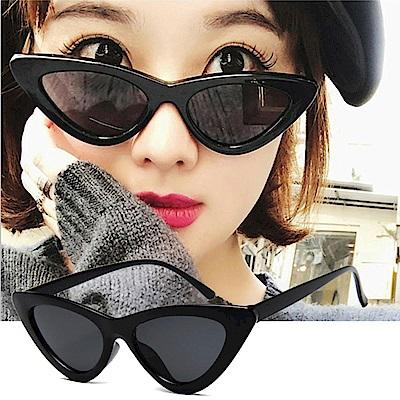 BeLiz 三角貓眼 歐美大方膠框墨鏡 黑