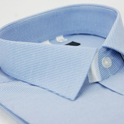 【金安德森】藍色白條紋窄版短袖襯衫