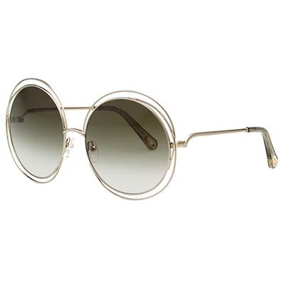 CHLOE金屬大框 太陽眼鏡 淡金色 CE114SD(大面版並可裝眼鏡鏈)