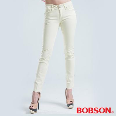 BOBSON 窄管小直筒色褲-米白