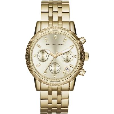 Michael Kors 璀璨晶鑽三眼計時腕錶-金