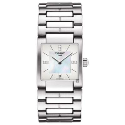 TISSOT 天梭 T02 優雅真鑽女錶 珍珠貝x銀 23mm T0903101111600