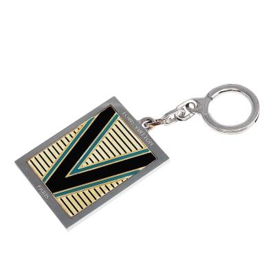 LV M65365 經典大V字母條紋銀邊金屬鑰匙圈(藍色)