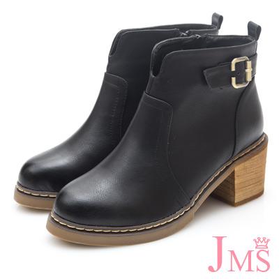 JMS-魅力個性弧型切口後環扣短踝靴-黑色