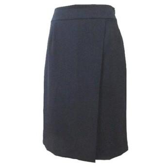 ナチュラルビューティーベーシック NATURAL BEAUTY BASIC ポリエステルドビースカート ウォッシャブル ひざ丈 タイト ラップ風 紺 ネイビー L X レディース