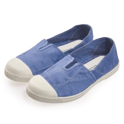 (女)Natural World 西班牙休閒鞋 刷色鬆緊基本款*水藍色