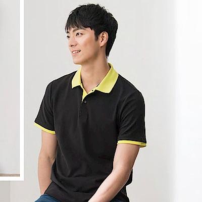 LEIDOOE 黑底黃領男款短袖polo衫 36029