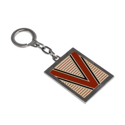 LV M65367 經典大V字母條紋銀邊金屬鑰匙圈(紅色)
