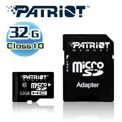 (6/20前再送3%超贈點)Patriot美商博帝 MicroSDHC 32GB Class10記憶卡+SD轉卡